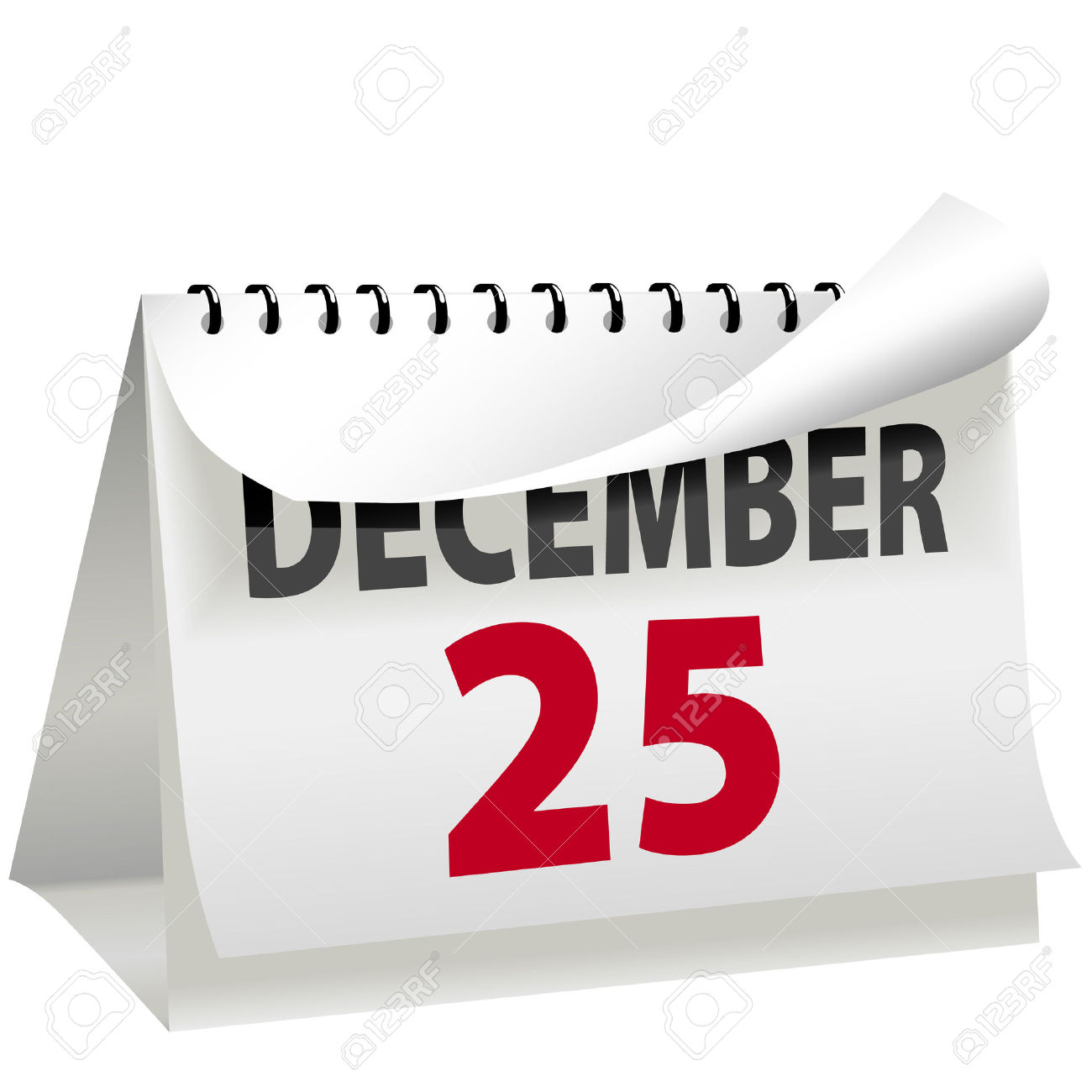 A Calendar Turns A Page To Change To DECEMBER 25 Christmas Day.