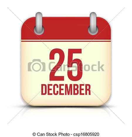 Vector Illustration of Christmas Day Calendar Icon. 25 December.
