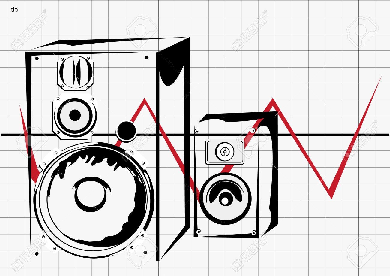 Vector Illustration Of Two Loudspeakers In Transparent Boxes.