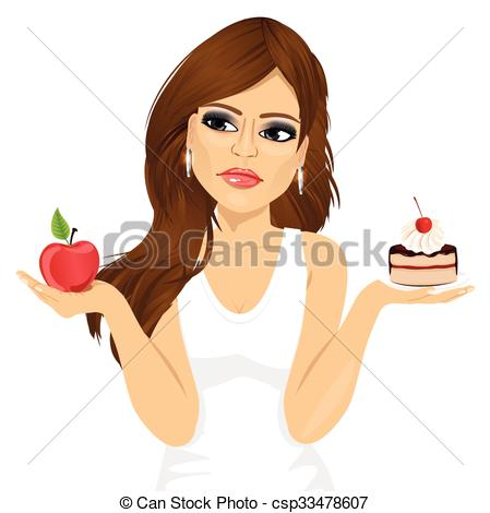 Vector Clipart of doubtful woman holding an apple and dessert.