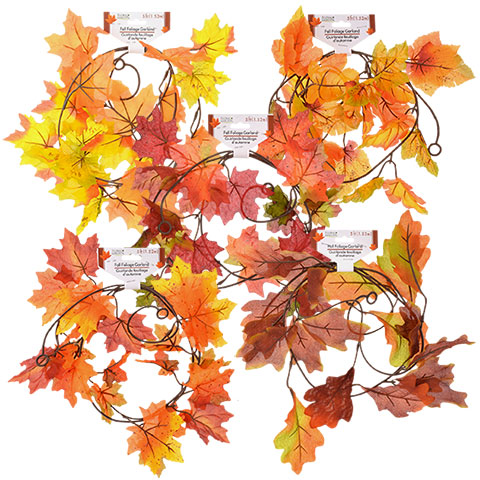 Bulk Floral Garden Fall Leaves and Vine Garland, 5.