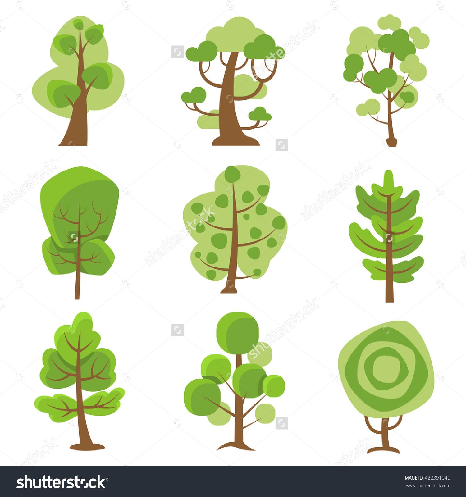 Tree Logo Flat Cartoon Decorative Icons Stock Vector 422391040.