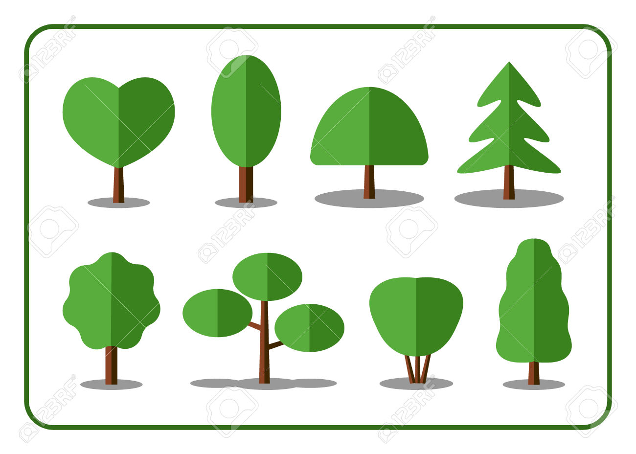 Tree Icons Set. Nature Collection. Trendy And Beautiful Set Of.