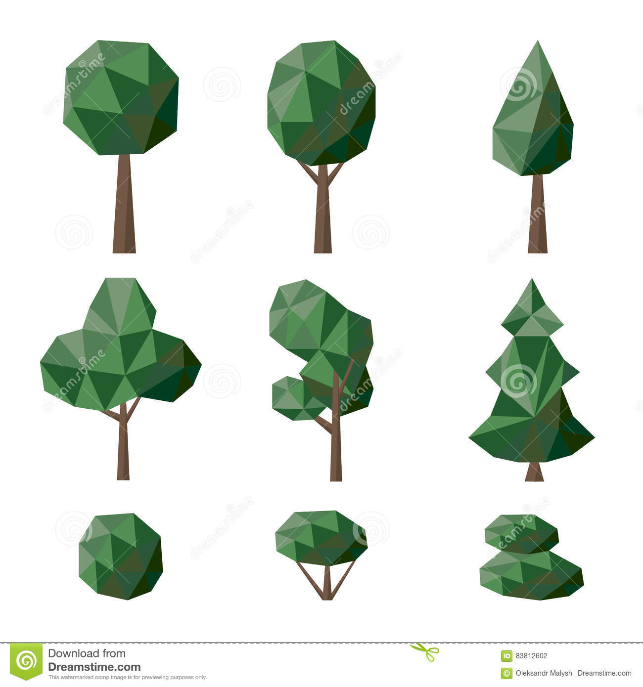Set Polygonal Deciduous And Coniferous Trees And Bushes Stock.