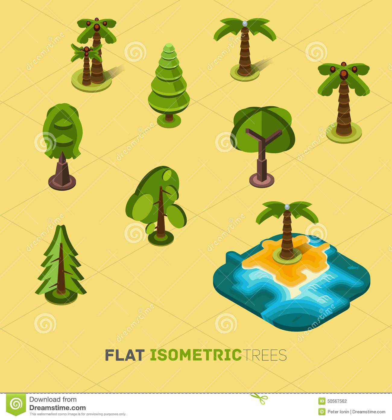 Flat Vector Trees 3d Isometric Concept. Stock Vector.