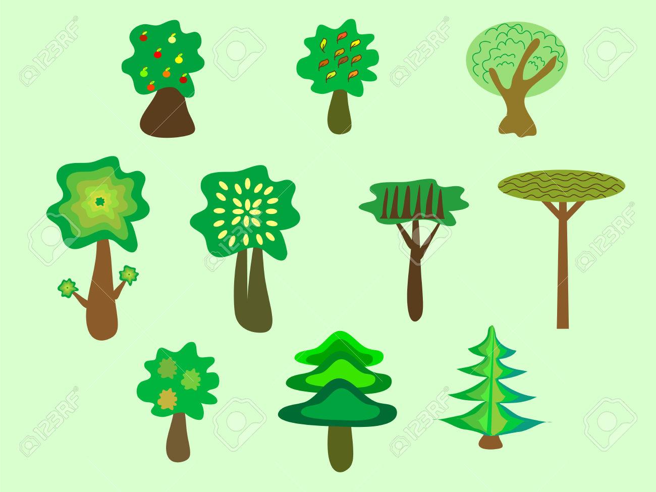 Trees Ecology Nature Park Set. Deciduous Coniferous Futuristic.