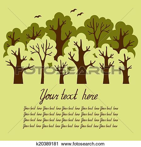 Clipart of Illustration of green deciduous forest k20389181.