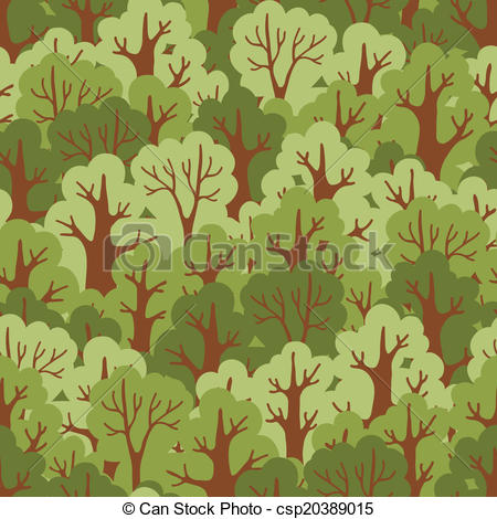 Vector Clip Art of Seamless pattern with green deciduous forest.