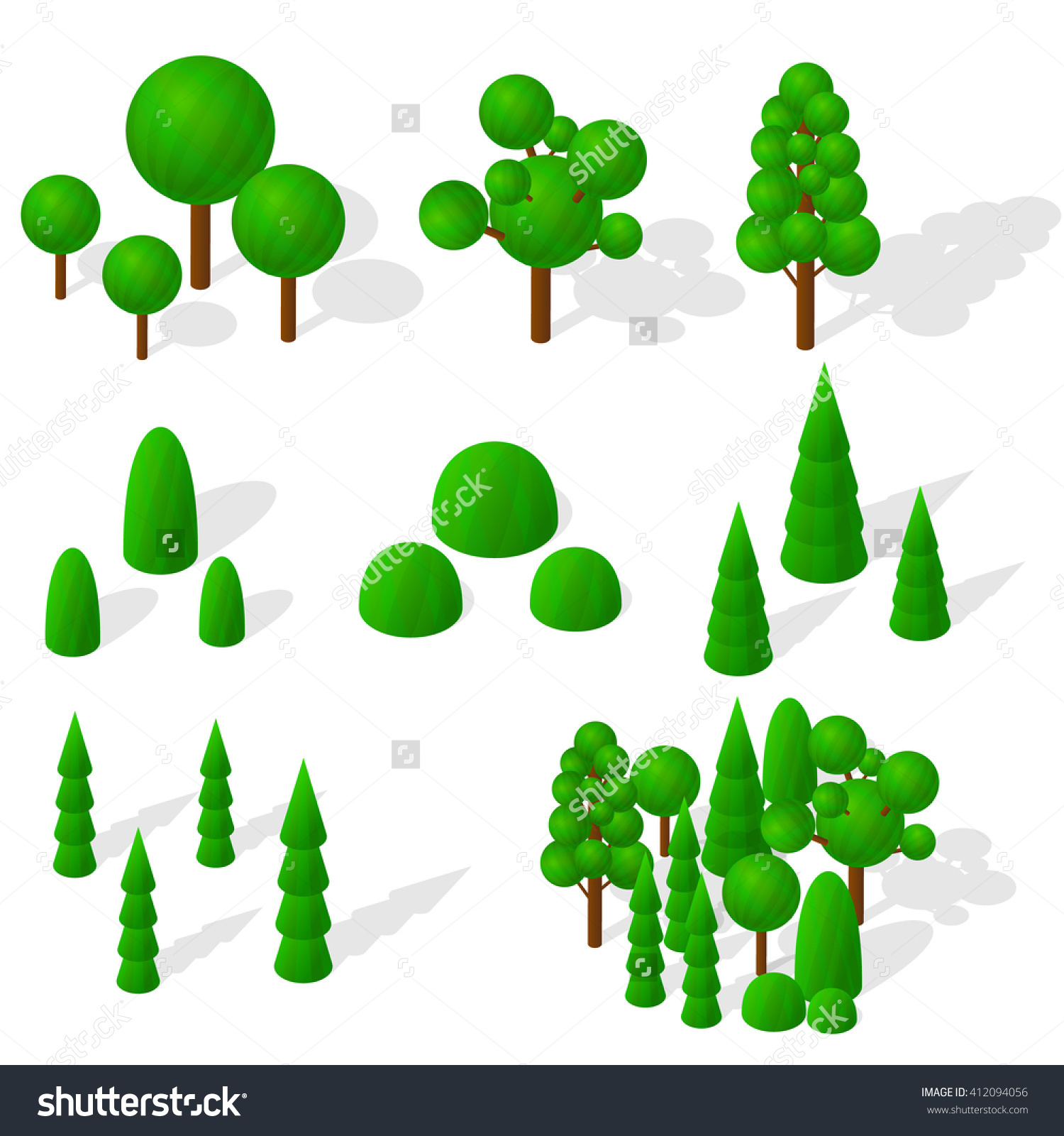 Isometric Trees, Firs And Shrubs. The Green Vegetation. Round.