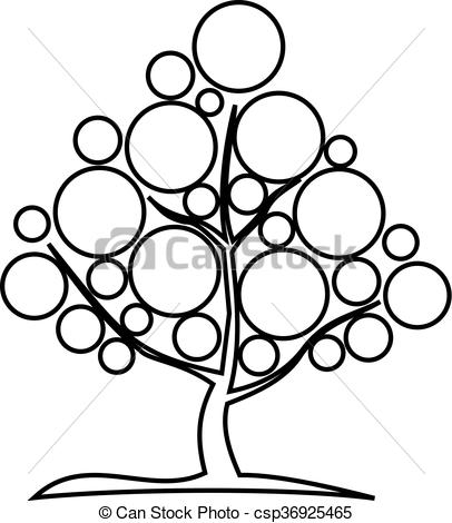 Clip Art Vector of deciduous tree, contour tree , csp36925465.