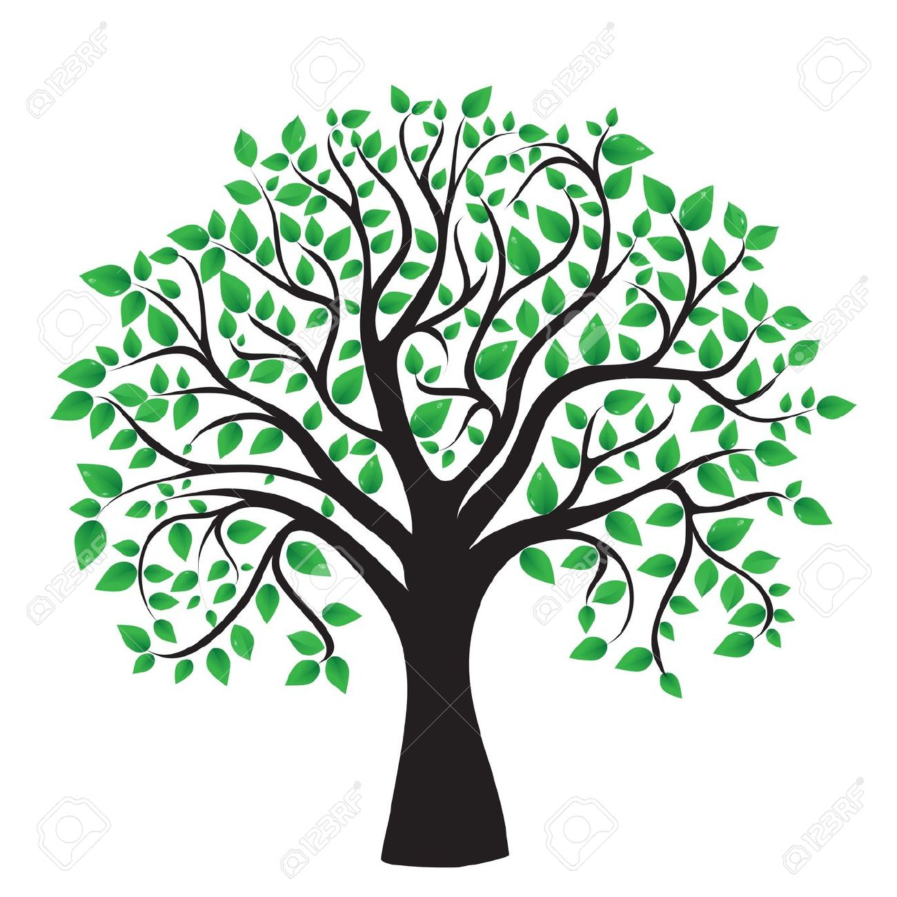 Tree Isolated On A White Background, Vector Royalty Free Cliparts.