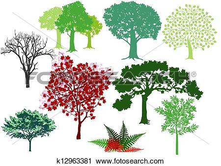 Clipart of set of deciduous trees k12963381.