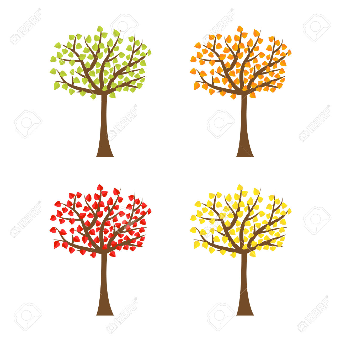 Tree Set With Different Color Leaves. Trunk Silhouette. Deciduous.