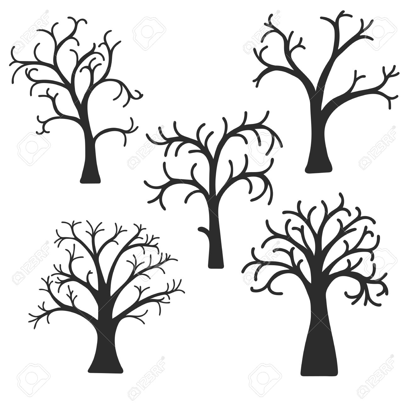 Silhouette Of Deciduous Trees Without Leaves, Vector Illustration.