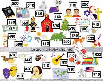 Library Dewey Decimal Category Clipart by Poppydreamz.