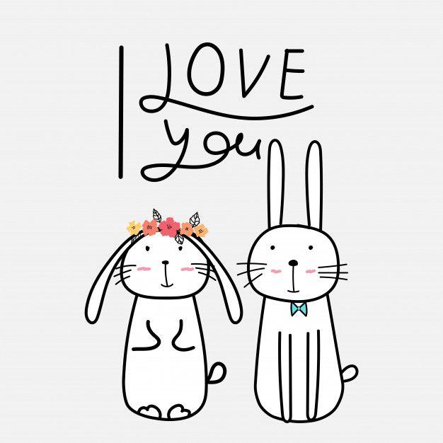 Dibujado a mano conejitos lindos con decir te amo. Vector.