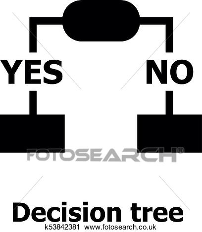 Decision tree icon, simple style. Clipart.