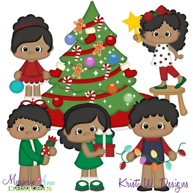 Deck The Halls African American Clipart.