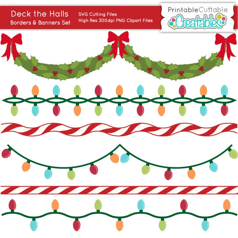 Deck the Halls Banners n Borders SVG Cutting Files & Clipart Set BF019.