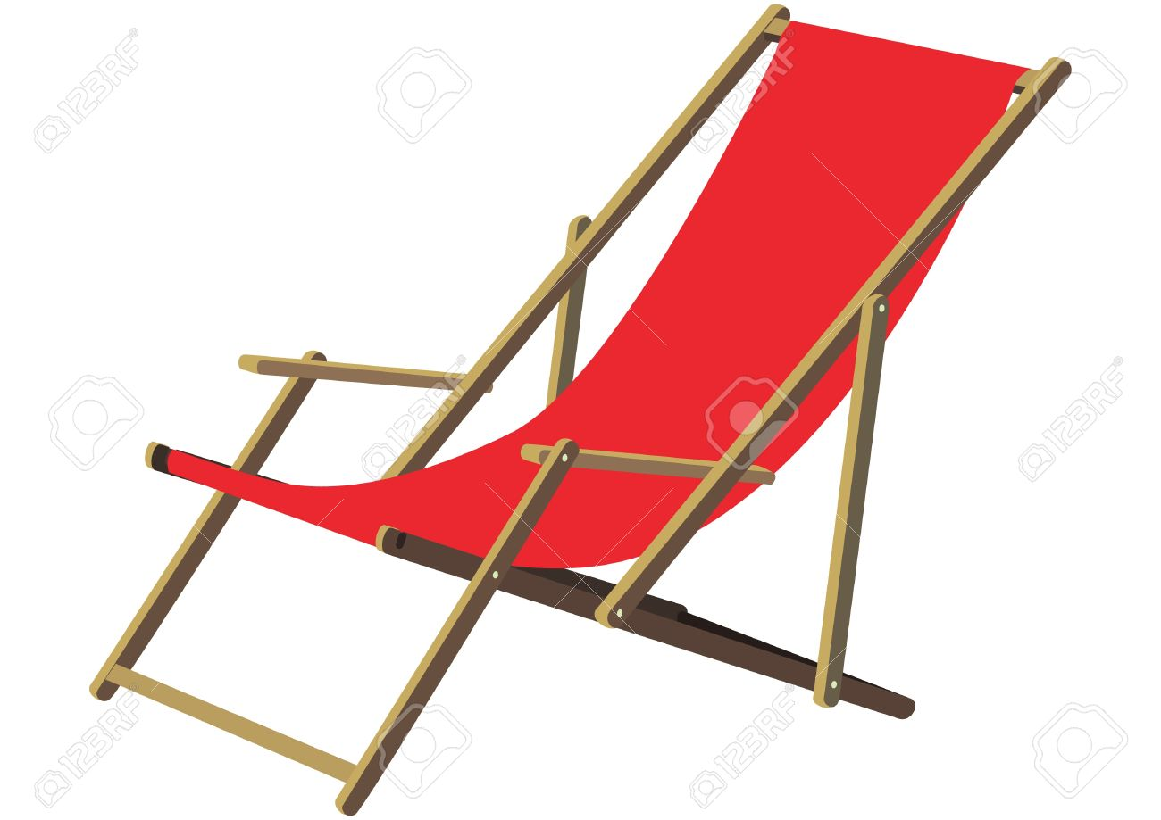Captivating A Classic Wooden Sun Deck Chair With Red Fabric Ldt To Relax.