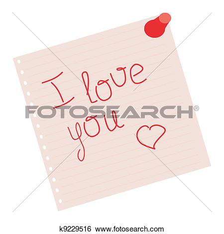 Clip Art of declaration of love on pink sheet k9229516.