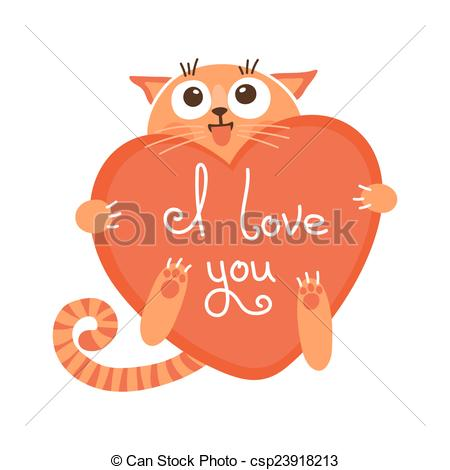 Vector Clip Art of Cute cartoon ginger cat with heart and.