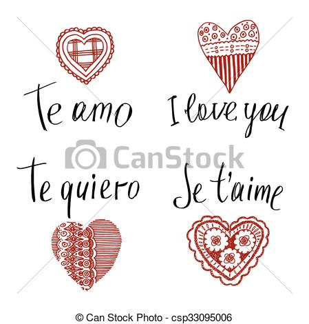 Vector Clipart of Declaration of love in in English, French.