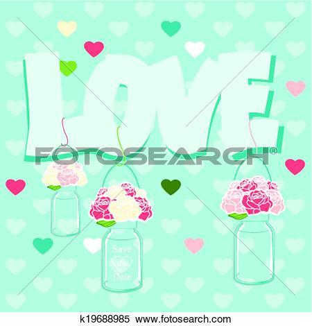 Clipart of Declaration of Love card design k19688985.