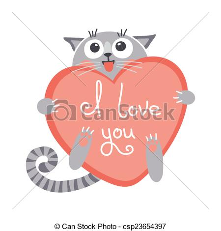 EPS Vectors of Cute cartoon ginger cat with heart and declaration.