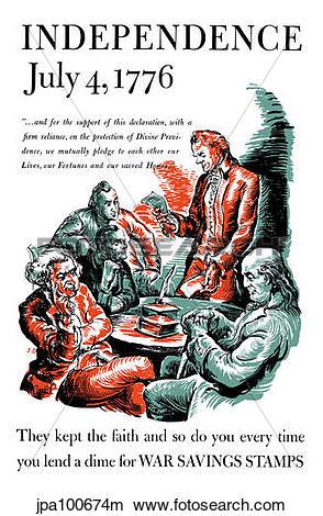 Drawings of Vintage World War II poster of Thomas Jefferson.