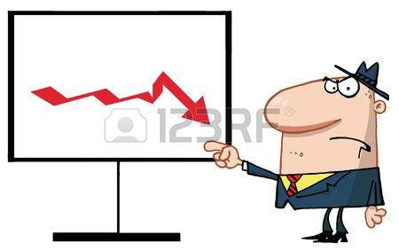 Grumpy Boss Pointing To A Decline Board Royalty Free Cliparts.