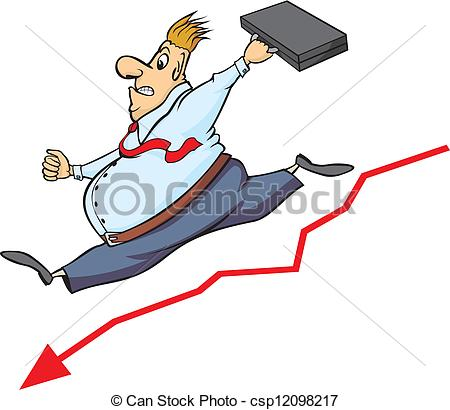 Vector Clip Art of buisnessman and decline in the stoc.