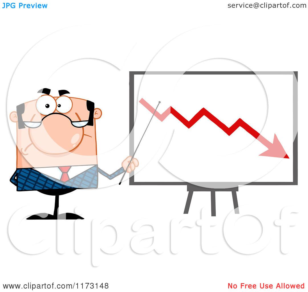 Cartoon of a White Unhappy Businessman Presenting a Decline.