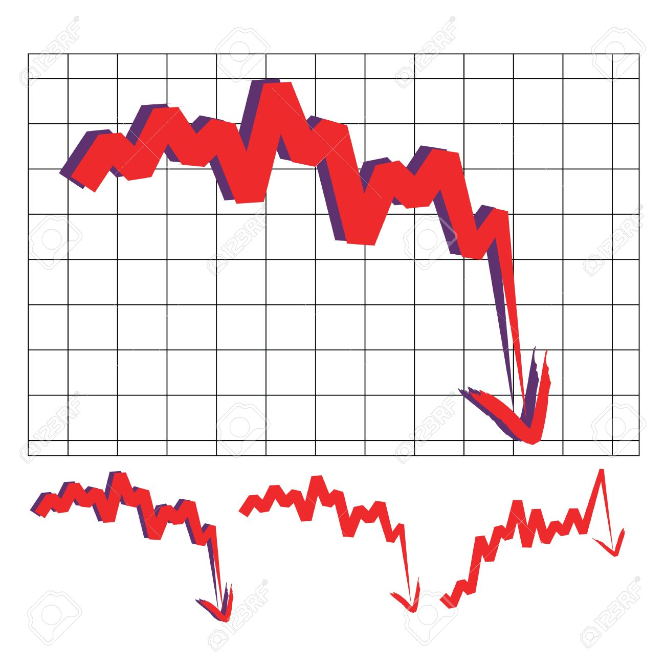 Stocks Index Downward Arrow Vector, Indicate Decline And Sharp.