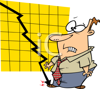 Royalty Free Clipart Image of a Man Watching an Economic.