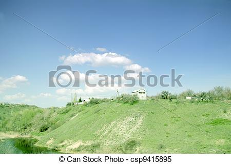 Stock Images of solar sky and hill.