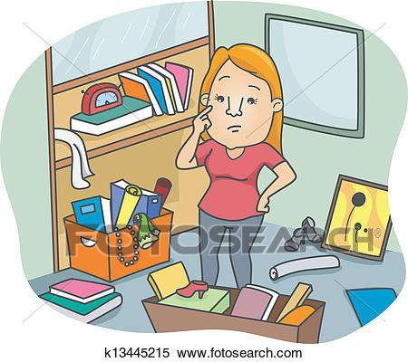 Woman to Declutter an Office Space Clipart.