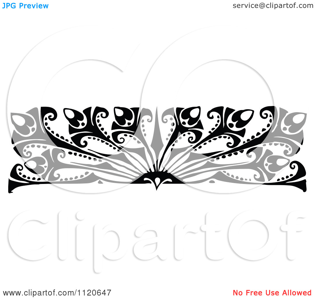 Clipart Of A Retro Vintage Black And White Art Deco Border 2.