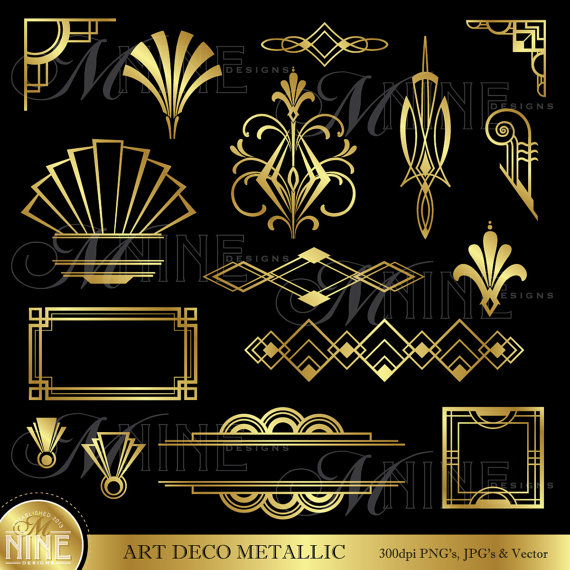 ART DECO Clip Art: Gold Art Deco Accents Design by MNINEDESIGNS.