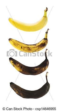 Stock Images of Spotless banana in a process of decompose.