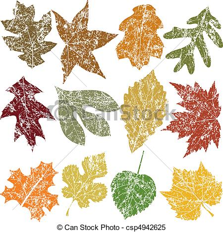 Clipart Vector of Twelve Grunge Leaves.