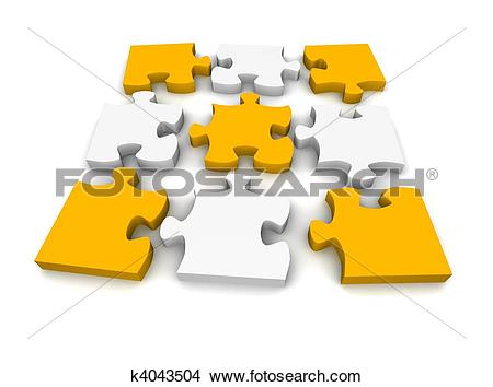 Drawings of Decomposed jigsaw puzzle. 3d rendered illustration.