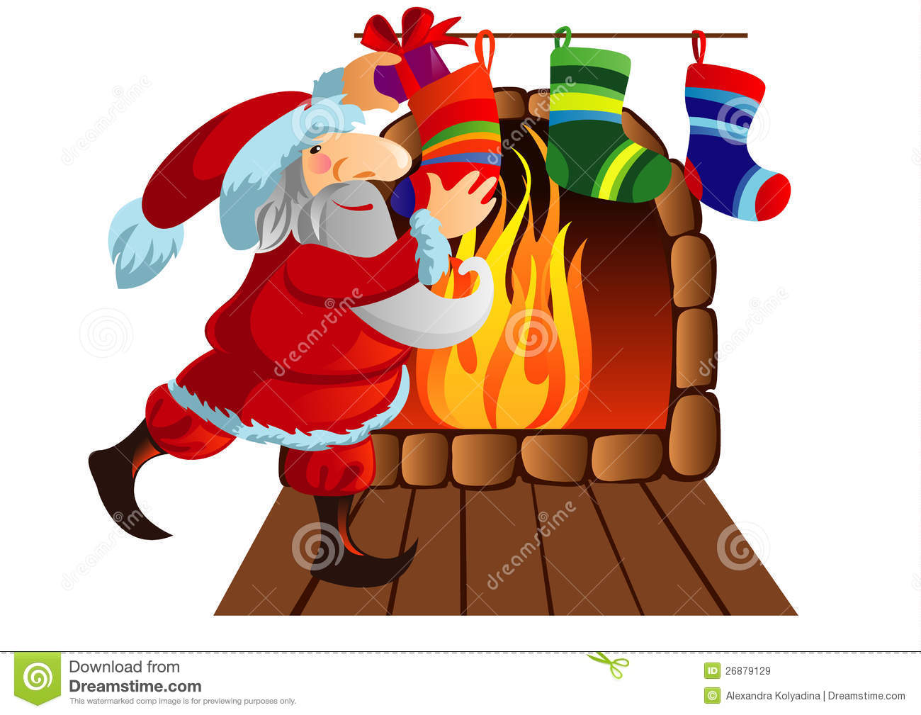 Santa Claus Is Decomposed Gifts In Socks Royalty Free Stock Images.