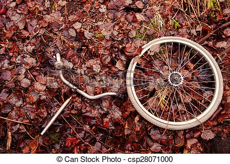Stock Photography of Decomposed bicycle parts.
