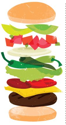 Burger clipart deconstructed, Burger deconstructed.
