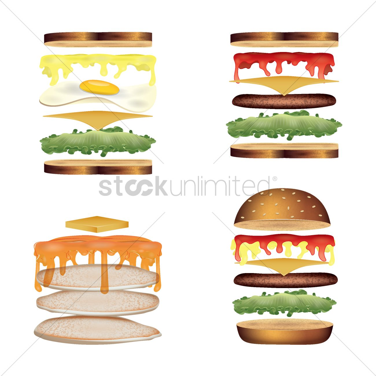 Food deconstruction collection Vector Image.