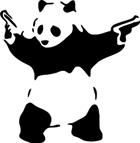 Panda with guns vinyl decal by Décor Galore.