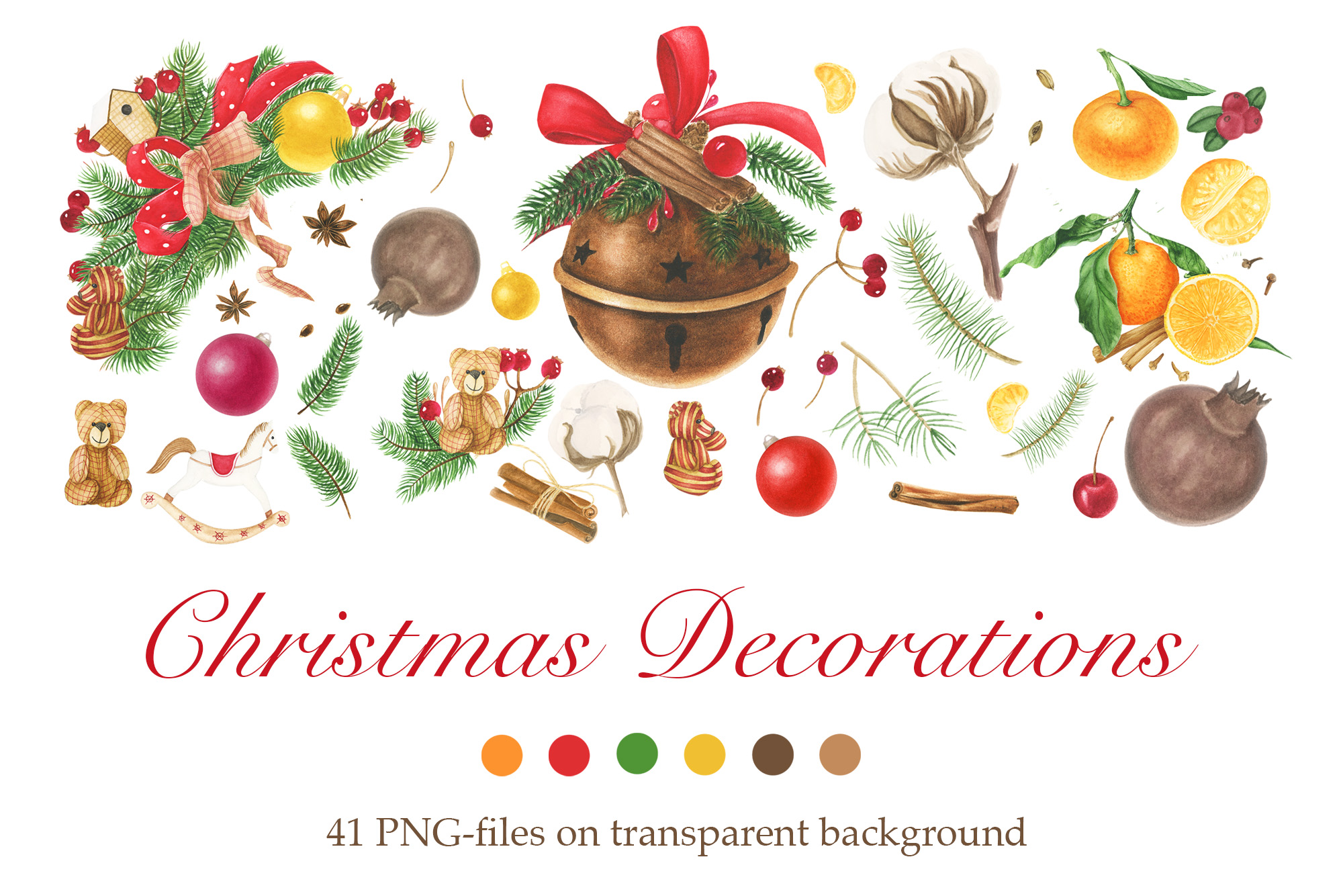 Watercolor Christmas Decorations Clipart.