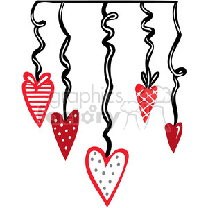 Valentines party decorations clipart. Royalty.