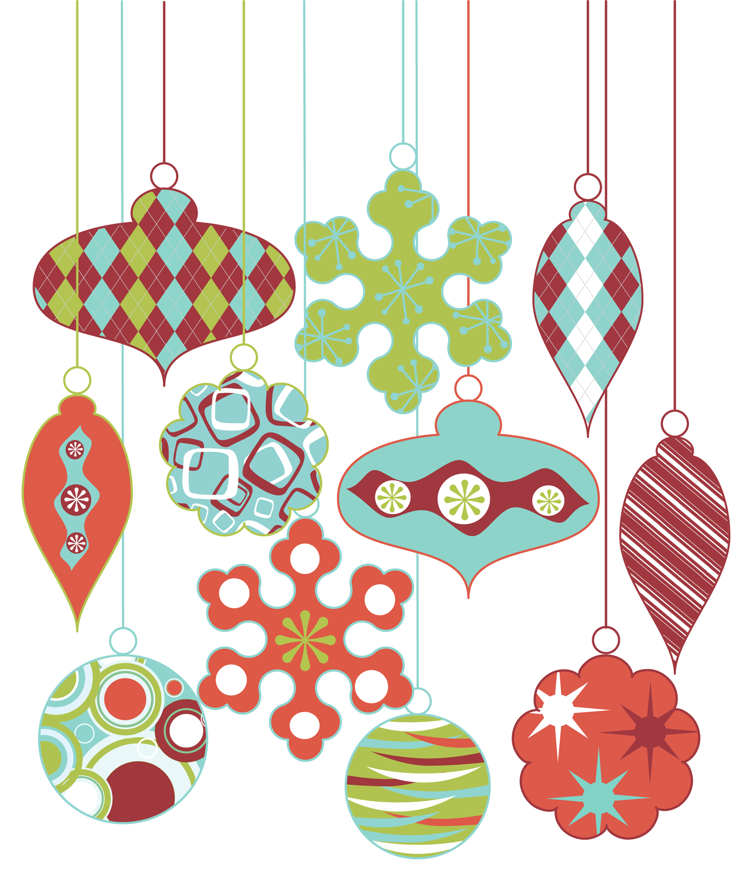 Retro Christmas Ornament Clipart Clip Art, Vintage Christmas.